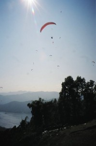 Roxanne Chappell paragliding in Nepal